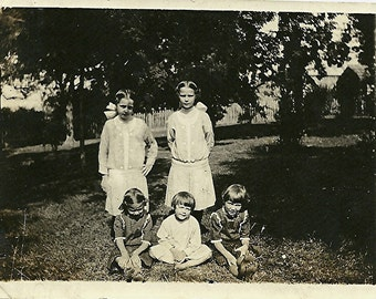 Old Photograph - Family of Five Children - Black and White Photo - Circa 1920s