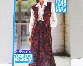 Butterick 6568 - Misses Vest, Skirt and Shirt Pattern - Size B 12, 14, 16 - copyright 1992