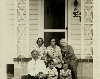 Vintage Photo - Family on Porch - Adults and Children - Black and White - circa 1940s