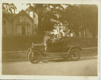 Vintage Photo - Three People in Old Car - Sepia Tones - Real Photo Post Card - RPPC - Circa 1910s