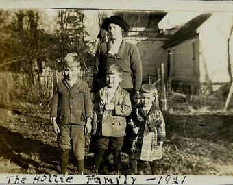 Old Photo - Lady and Three Children - 1921