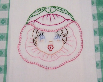 Pink Pansy Kitchen Towel - Tea Towel - Dish Towel - Anthropomorphic Pansy Girl in Pink - Hand Embroidered -Cotton - Flour Sack