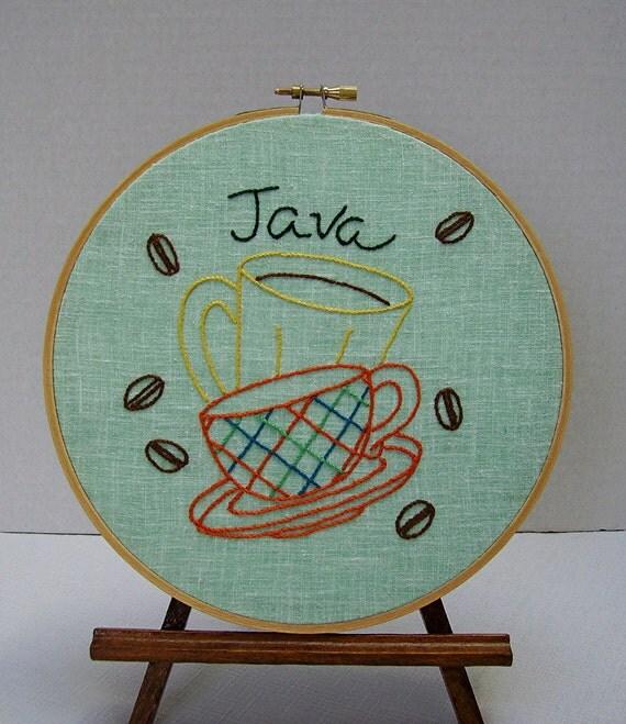 Embroidery Hoop Wall Art - Java Coffee Cups