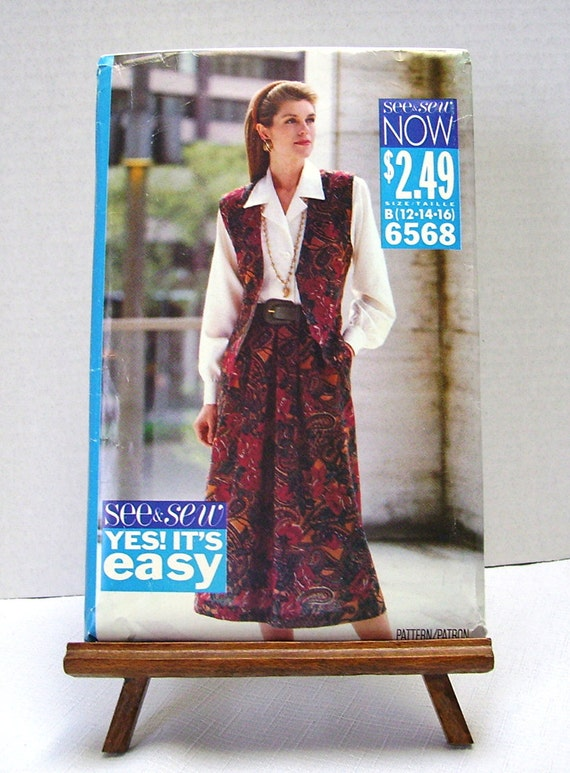 Butterick 6568 - Misses Vest, Skirt and Shirt Pattern - Size B 12, 14, 16 - copyright 1992