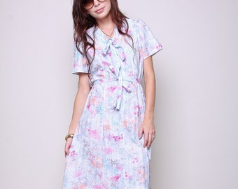 Large / XL - Vintage Dress 60s Mod Indie Floral Dress with Ascot and Tie Belt