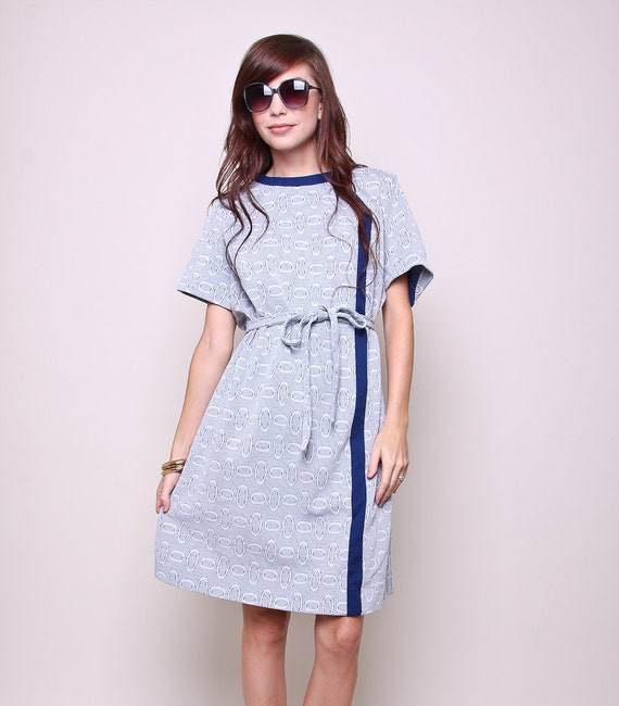 vintage dress 60s mod blue and white dress with tie belt