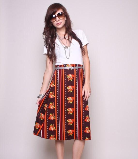 Vintage High Waisted Skirt 70s Hippy Boho Brown and Orange Floral Skirt