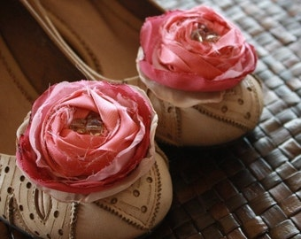 Two Fabric Flower Tutorial Patterns - Rolled Rose and Fluffy Cabbage Rose Plus Diy Wedding Accessories, Shoe Clips and Headband Tutorials