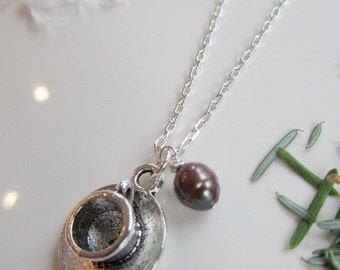 Cup and Saucer Necklace, Barista Jewelry, Silver Coffee Cup, Silver Charm, Urban Chic, Brown Pearl, Coffee Bean Charm, Redpeonycreations