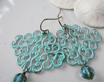 Turquoise Filigree Earrings, Bohemian, Blue Patina, Bridesmaid Earrings, Gardendiva