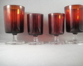 Ruby Red Luminarc Cavalier Glasses Four