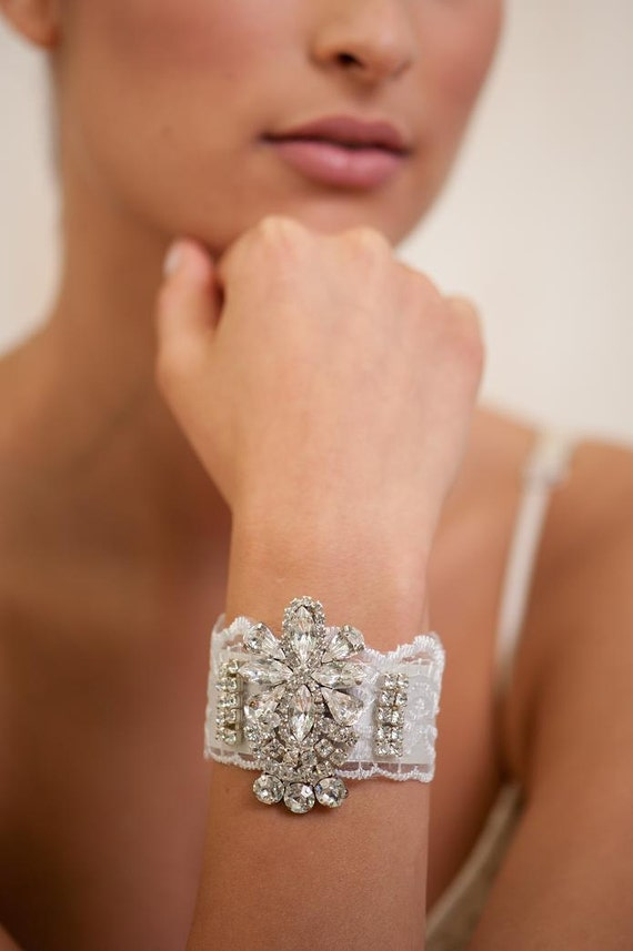 Bridal Bracelet, Bridal Cuff Bracelet, Bridal  jewelry ,Accessories ,Sparkle Rhinestone, Wedding Jewelry ,White lace Bracelet