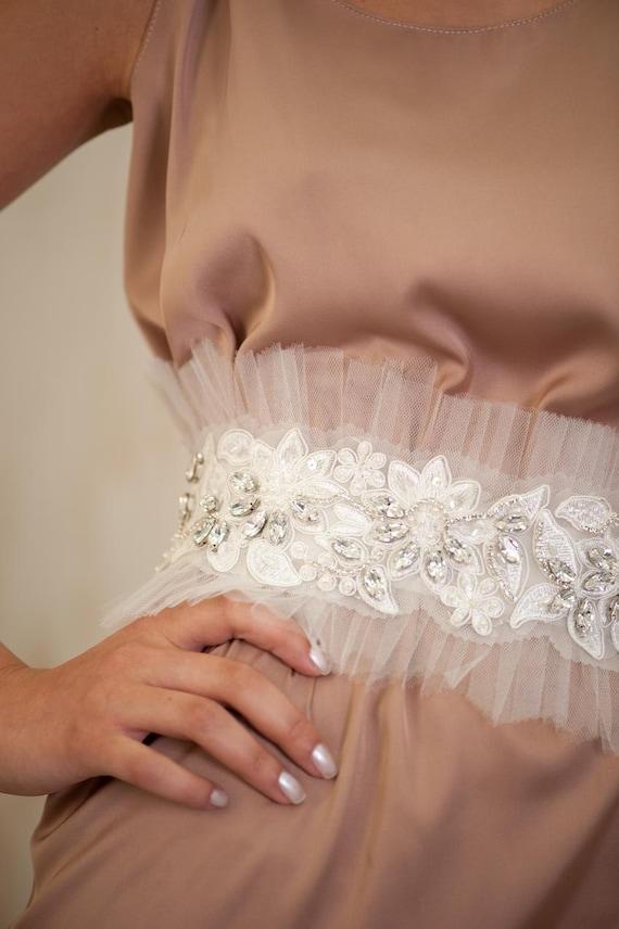 Bridal jewelry sash -  wedding belts, Bridal  sash, Bridal Belt,  Embroidered  Lace sash , Pale Ivory, Rhinestone sash, gown belt