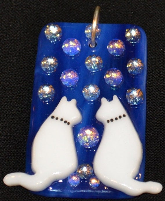 Cat Duo Pendant, Sparkly Fused Glass Necklace, Colorful Jewelry, Kitty Cats, Dichroic, Signed Original