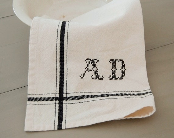 Personalized French Stripe Kitchen Towel with hand-stitched initials - BLACK