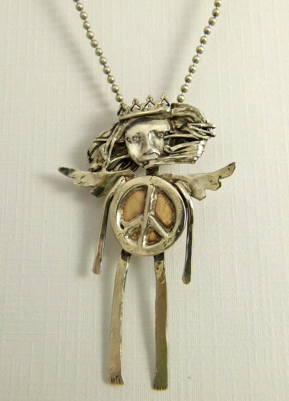 Angel Phoebe Hopes For Peace - Upcycled Sterling, Brass, And PMC - Art Jewelry Pendant - 802