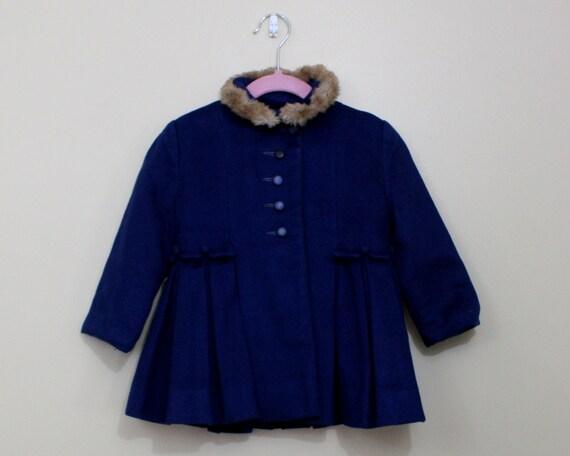 1950s girls coat / 50s little girls coat / dark blue coat / toddler girl coat