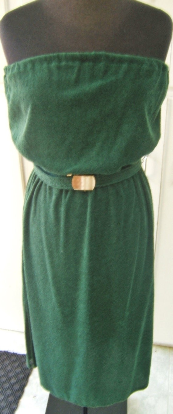 Retro-Fabulous Vintage Green Strapless Tube Dress Couture Fashion Size M/L
