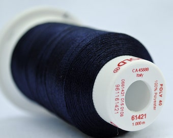 Polyester 40  Machine Embroidery Thread -- 61421 Navy Blue