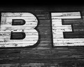 Lettering  BE  on the Side of an Old Icehouse Black and White Fine Art Photo
