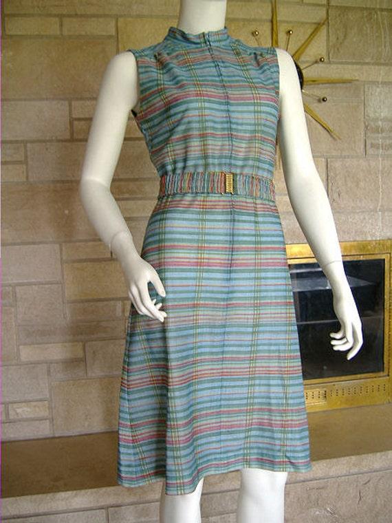 Vintage 1970s Day Dress Blue Plaid S M 36