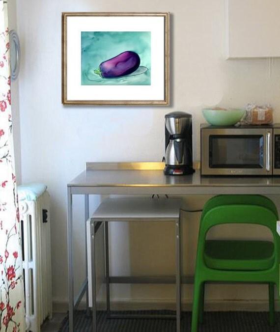 Original Watercolour Painting on Yupo - Aubergine Eggplant - Still Life Fruit Food Art