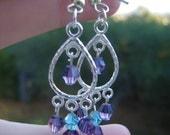 Purple and Blue Glass Beaded Chandelier Earrings