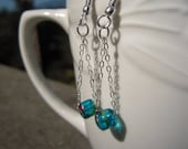 Blue Glass Beaded Chain Earrings