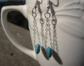 Turquoise Ceramic Beaded Chain Earrings