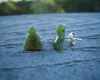 Jade Buddha Earrings, Hand Carved Jade Buddhas