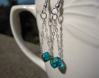 Blue Glass Beaded Chain Earrings