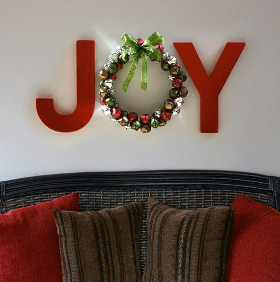 JOY Holiday Wall Letters with Jingle Bell Wreath O