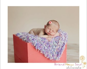 Baby Girl Blanket Photo Prop. Pastel Hand Knit Photography Prop. Coral Peach, Lavender Purple, Pale Mint Green 'la Fleur'