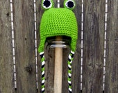 Adorable Frog Earflap Hat -- size 1-5 years