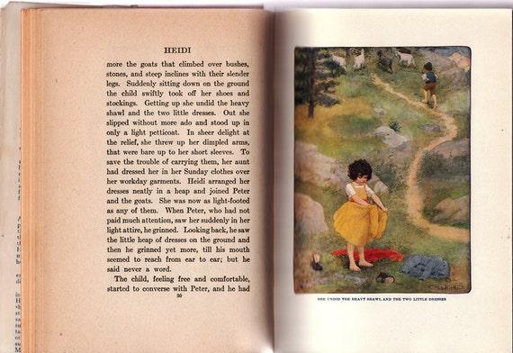 Heidi by Johanna Spyri, illustrated by Maria L. Kirk, Vintage Hardcover Book, 1915