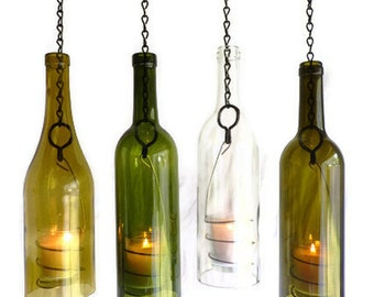 Glass Wine Bottle Candle Holder Hanging Hurricane Lantern Set of 4