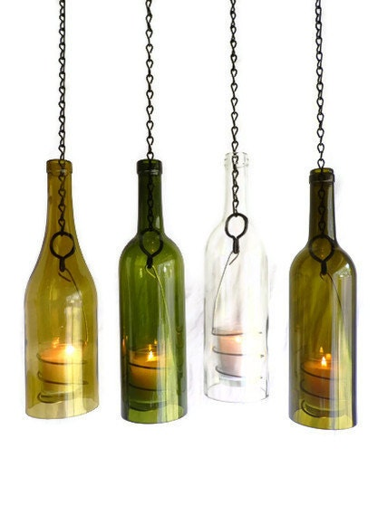 Glass wine bottle candle holder hanging hurricane lantern set for Champagne bottle candle holders