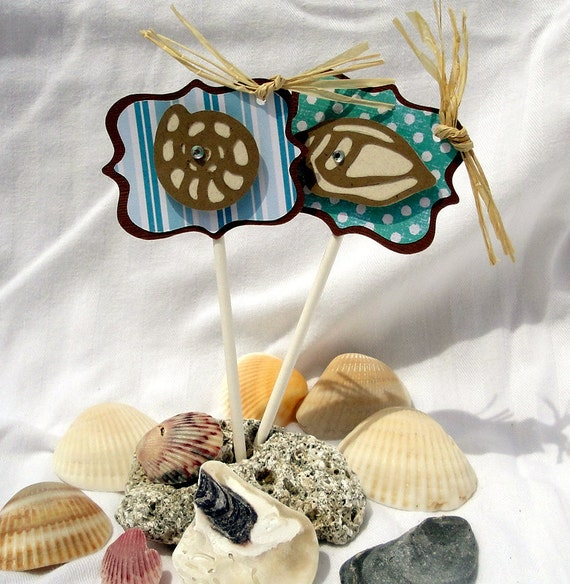 Sea Shells Cupcake Toppers Set of 24