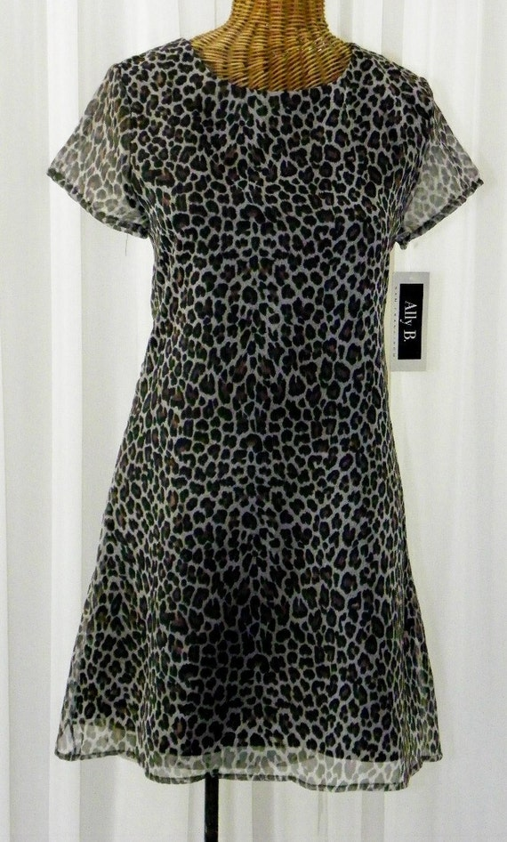 Vintage Chiffon Leopard Print Empire Waist Dress Tags Attached Fully Lined White Brown Black Print Size 16 Made In The U.S.A.