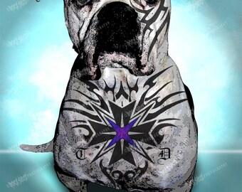 American Bulldog, Tough Dog Art Print, Unique dog Art, Tattoo Dog Art Print, Dog Lover Gift, Modern Dog Art, Dog Art Print, Pet Lover Gift