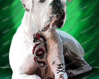 Boxer Art Print, Tough Dog Art, Unique dog Art, Tattoo Dog Art Print, Dog Lover Gift, Modern Dog Art, Dog Art Print, Pet Lover Gift