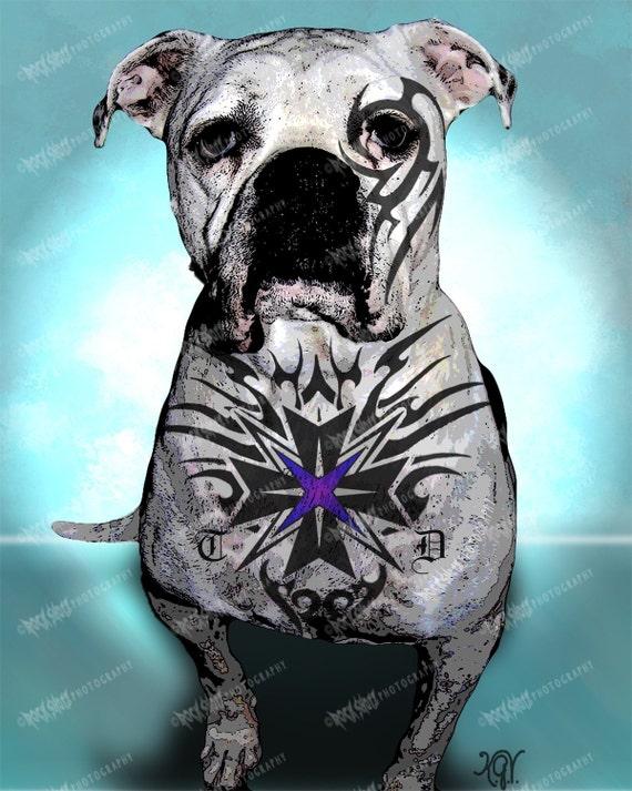 American Bulldog, Tough Dog Art Print, Unique dog Art, Tattoo Dog Art Print, Dog Lover Gift, Modern Dog Art, Dog Wall Art, Pet Lover Gift