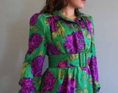 60% off sale - VINTAGE silk purple and green floral dress SIZE S