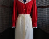 VINTAGE rayon fancy collar red blouse SIZE S/M