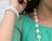 VINTAGE trio faux pearl necklace clip-on earrings and bracelet set