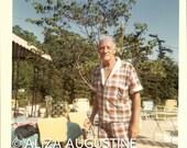 Digital Scan // Vintage // Color Photo // Man In Plaid Cabana Set  swimsuit 0650