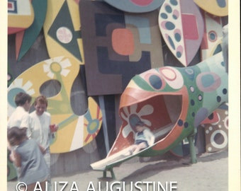Instant Download, Vintage Photo, Color Photo ,Art Playground, Snapshot, Found Photo,  Mural, Art Painted Pkayground, Old Photo     0704
