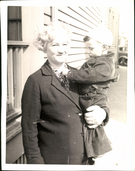 Vintage Photo, Old Woman Holding Small Boy,  Black & White Photo, Original Photo, Found Photo, Snapshot                 *0780