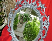 Shabby Chic, Nursery Mirror, Aluminum Silver, Oval Mirror,Large Mirror,Size 33 1/2 x 23 1/2, Choose Color and Finish