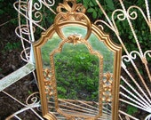 Wall Mirror Ornate , Vintage Mirror ,HOLLYWOOD REGENCY  Made in ITALY 23 x 12